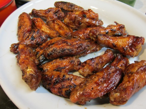 Can my husband grill some good looking chicken wings or what?